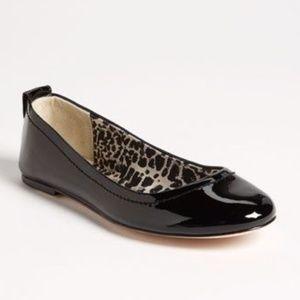 Coach Anora Turnlock Black Patent Ballet Flats